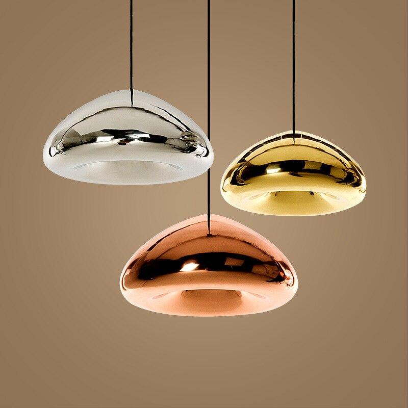 Ouro moderno bronze tira sombra espelho luz pingente e27 conduziu a lâmpada pingente de vidro moderna iluminação bola vidro natal