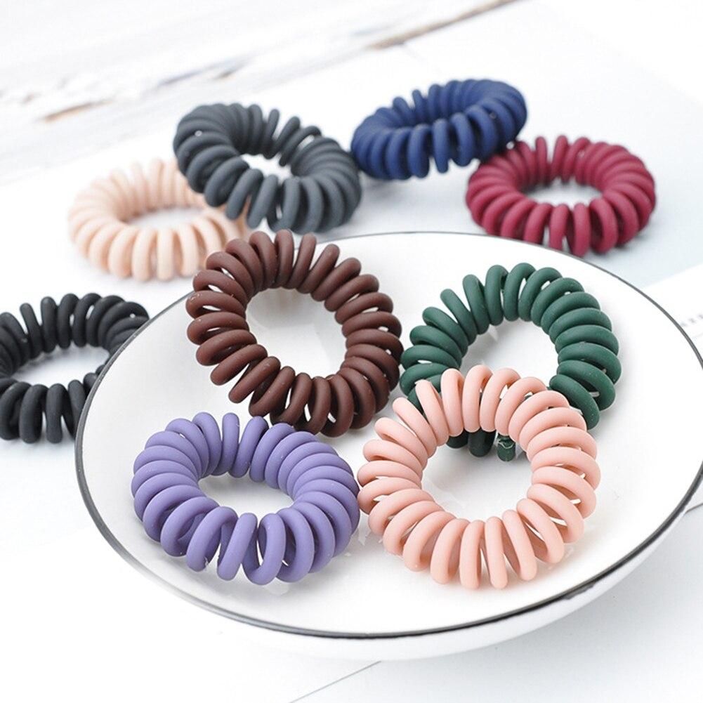 5 uds. Bandas elásticas coreanas para el cabello, lazos para el cabello con cable de teléfono a la moda, conjunto de coletas para el pelo tipo Donut, gomas para mujeres y niñas, Scrunchies en espiral