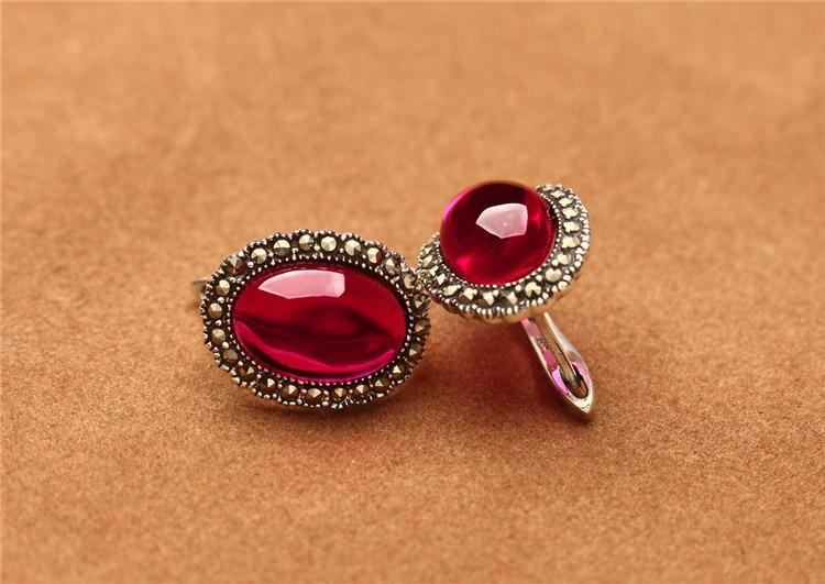 Plata de Ley 925 Plata tailandesa restaurando maneras antiguas es Rojo granada corindón pendientes de moda rubí Mujer