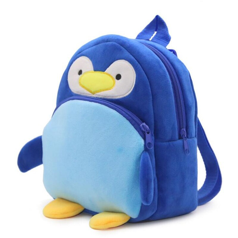 Mochilas azul pingüino de peluche mochila de juguete de dibujos animados Unisex Bolsa Escolar de personaje Mini mochila para 1-3 años