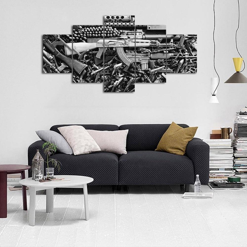 Lienzo de pistola dañada, imágenes impresas, pinturas contemporáneas, carteles e impresiones, arte de pared para sala de estar, decoración del hogar, 5 piezas