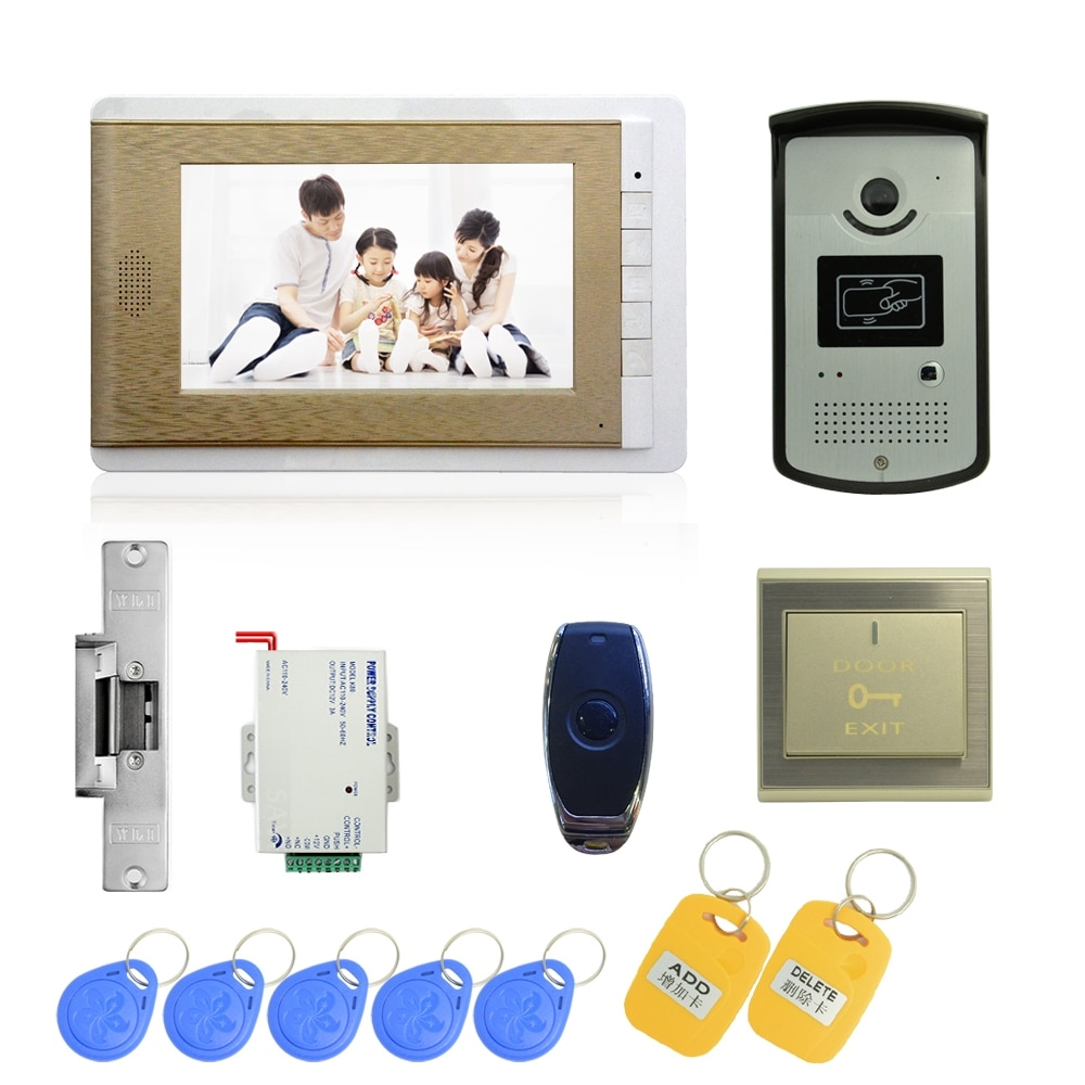 (1 Conjunto) videoportero timbre intercomunicador Monitor Color Control de Acceso botón de salida desbloqueo remoto RFID llave para