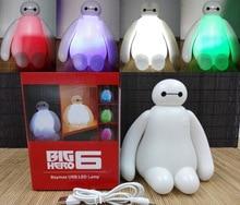Nouveau rechargeable 1 pièce haute qualité 16 cm grand héros 6 Baymax USB LED veilleuse créative RGB modifiable bébé chambre lampe de Table