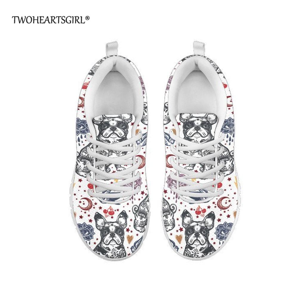 Deuxheart sgirl bouledogue français femmes chaussures décontractées printemps/automne extérieur maille plate-forme baskets respirant à lacets chaussures plates
