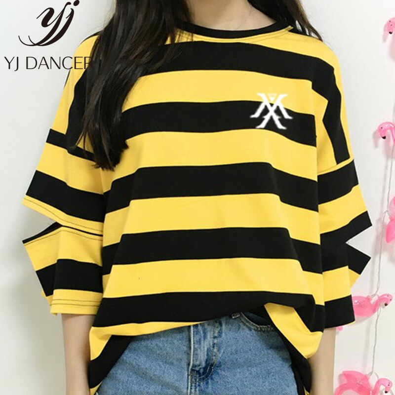 Camiseta estampada con Logo de rayas Monsta x para Fans de KPOP camiseta de moda con cuello redondo y mangas para verano talla única 2019