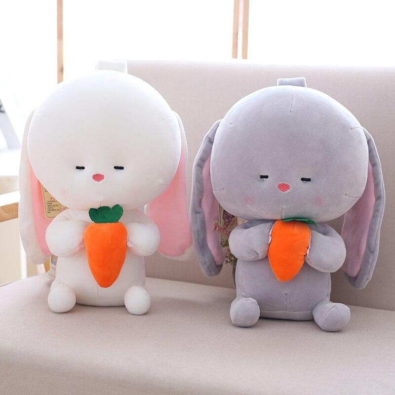 Conejo de peluche de 25cm/35cm, conejito de dibujos animados suave con zanahoria, sofá, dormitorio, juguete para niños, regalo de cumpleaños