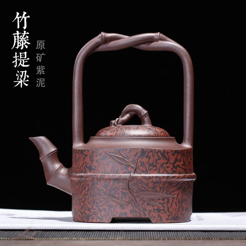 Tetera bruto de arcilla púrpura tierra barro fijación maceta tetera de bambú de mimbre de fijación son mano zhi-banda cao