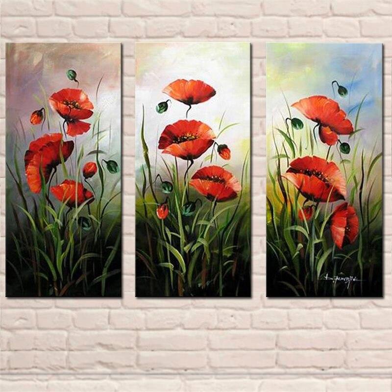 Pintura al óleo de flor roja abstracta 3 paneles de combinación de arte de pared para decoración de Hotel para el hogar pintado a mano cuadro de lona