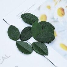 200pcs 저렴 한 실크 장미 꽃 잎 가짜 녹색 잎 크리스마스 웨딩 홈 장식 액세서리 인공 식물 diy 선물