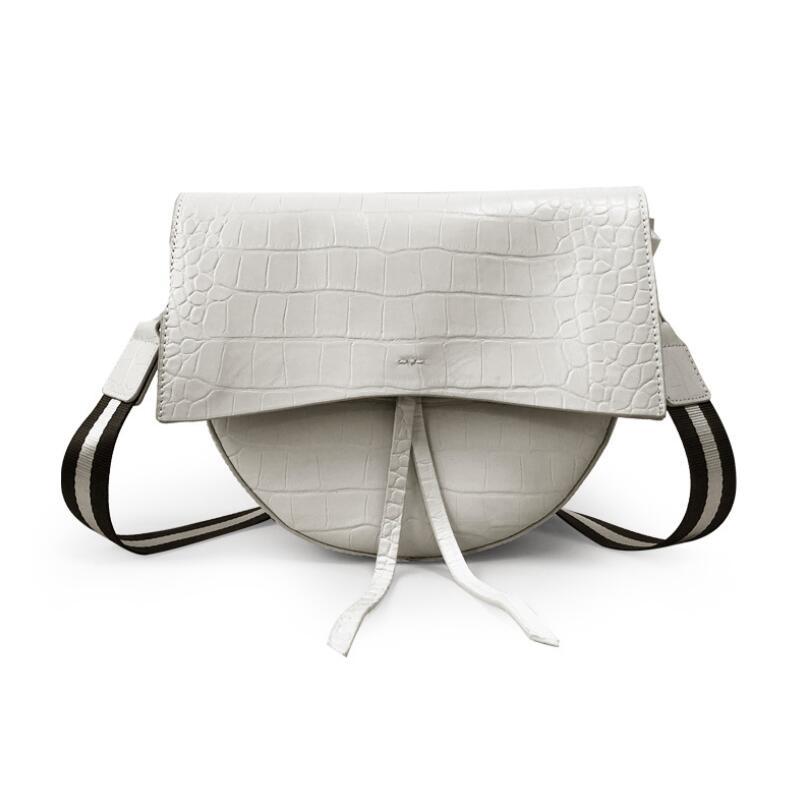 FoxTail و زنبق اثنين الأشرطة التمساح نمط السرج حقيبة المرأة البقرة حقائب يد جلدية فاخرة مصمم حقائب الكتف الصغيرة Crossbody