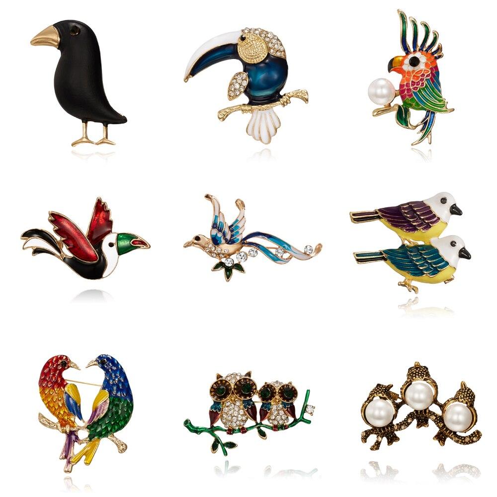 Papagaio coruja corvo broche tinta preta pássaro esmalte broches masculino feminino ternos vestido chapéu colarinho broche pinos cachecol animal fivela presente