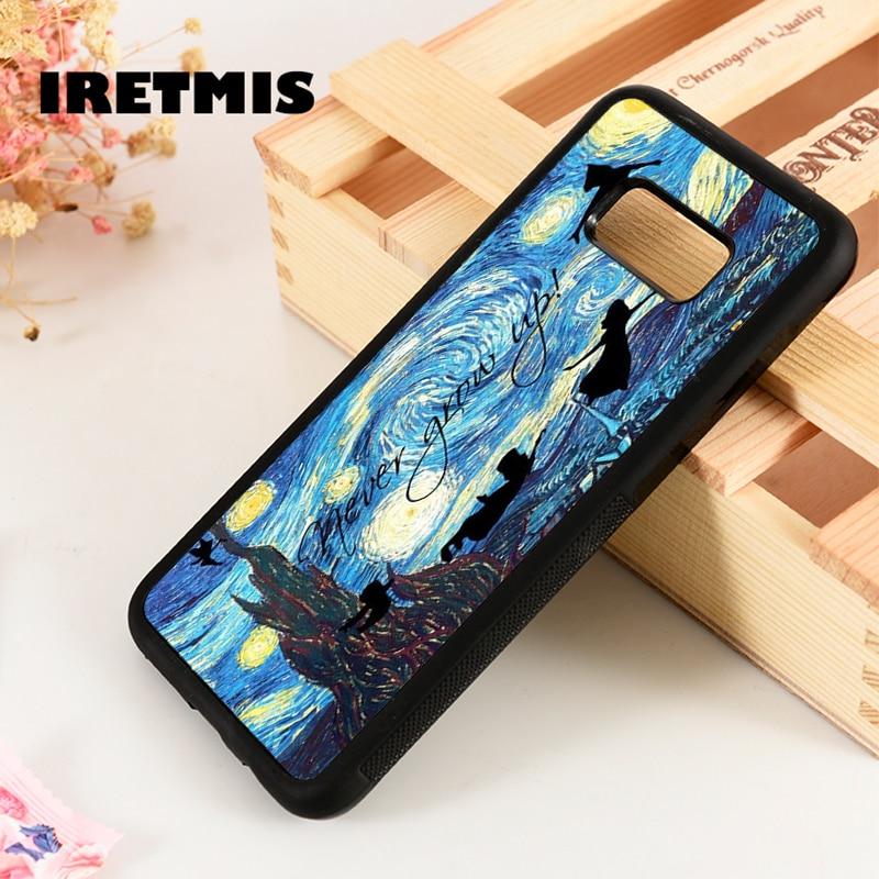 Iretmis S3 S4 S5 funda de goma de silicona para Samsung Galaxy S6 S7 S8 S9 edge plus Note 3 4 5 8 9 Peter Pan noche estrellada