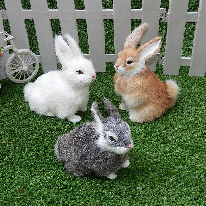 15 cm mini realista bonito branco pelúcia coelhos pele realista animal coelho da páscoa simulação modelo coelho brinquedo presente de aniversário brinquedos