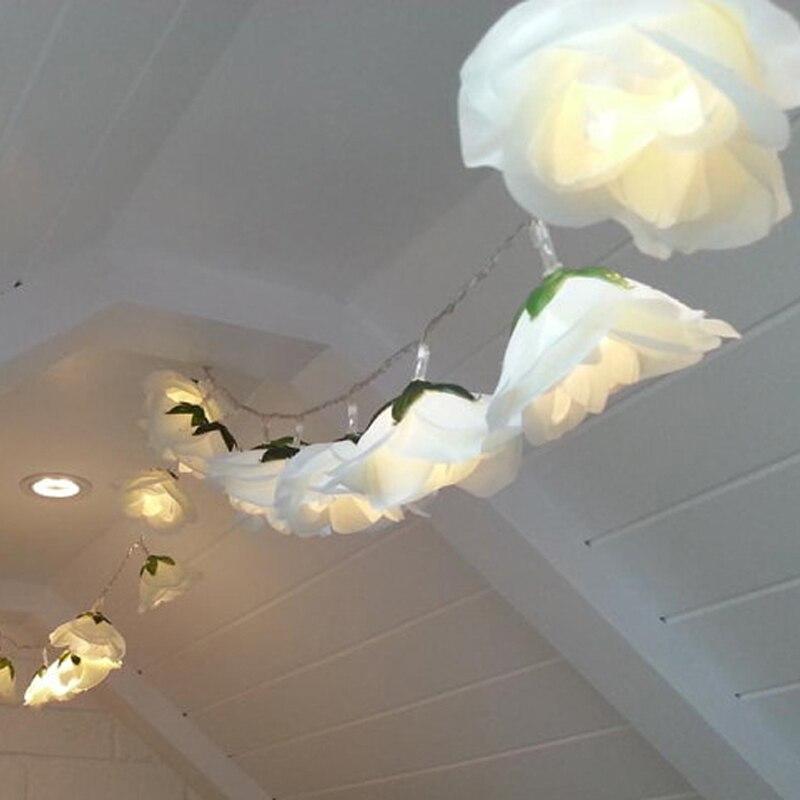 10 m 20 m 30 m Gerlyanda 50 m De Seda Flor LED String Fada LUZ Do Feriado FESTA de CASAMENTO Decorações de NATAL luzes Interiores Guirlandas