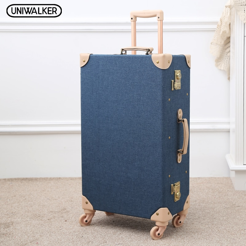 Fashion Blue Fabric Ride Rolling Trolly Suitcase Retro Travel Light Weight Car Trunk Vintage Suitcase Case Luggage Carry On