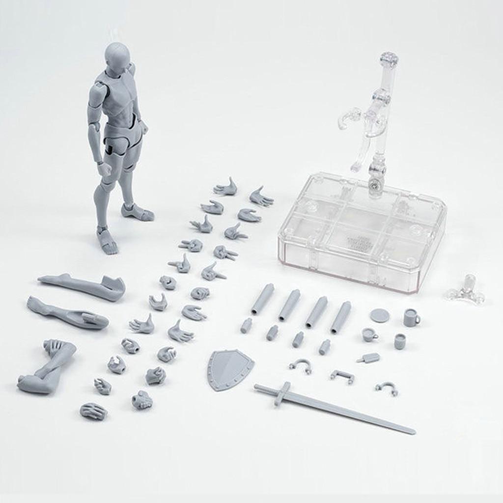 Figuras de dibujo para artistas figura de acción modelo maniquí humano hombre mujer Kits PVC color gris acción modelo coleccionable juguete