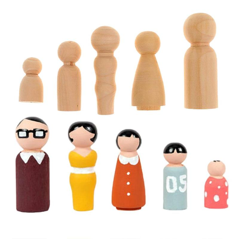 5 шт./компл. DIY Окрашенные деревянные Семейные колышки для кукол DIY украшения для свадебного торта, детские игрушки, развивающие детские игру...