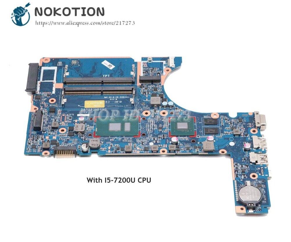NOKOTION Para HP 450 Laptop Motherboard i5-7200U G4 470 G4 CPU DA0X83MB6H0 805696-001 805696-002 907714- 601 907714-001