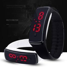 Reloj de pulsera deportivo Digital LED rojo de moda para mujer de silicona para exteriores de marca, reloj de pulsera para hombre, reloj de pulsera de 11 colores