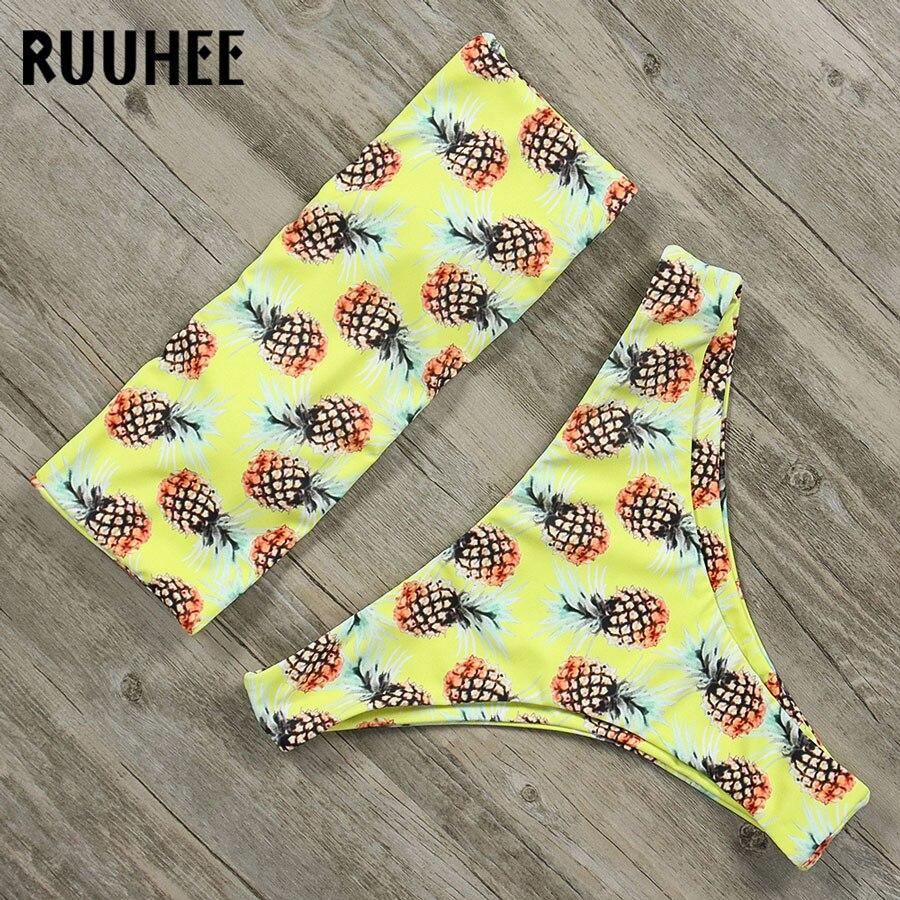 Женский купальник RUUHEE, бандажный бикини с подкладкой, 2018