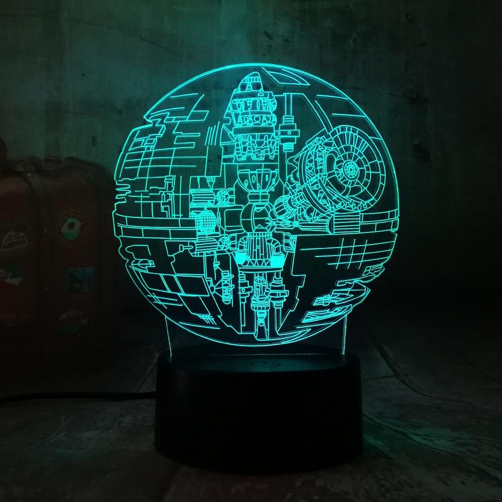 Новые Звездные войны, 3D LED ночник, 7 цветов, настольная лампа для сна, украшения спальни, праздничные детские игрушки, рождественский подарок