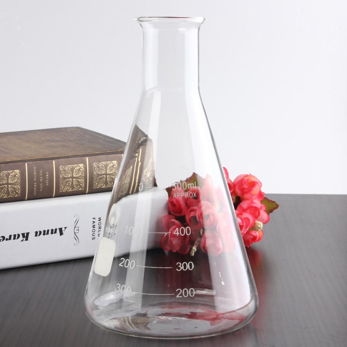 Frascos triangulares de laboratorio matraz de 500ml, juntas de lechuga de vidrio, 24/29