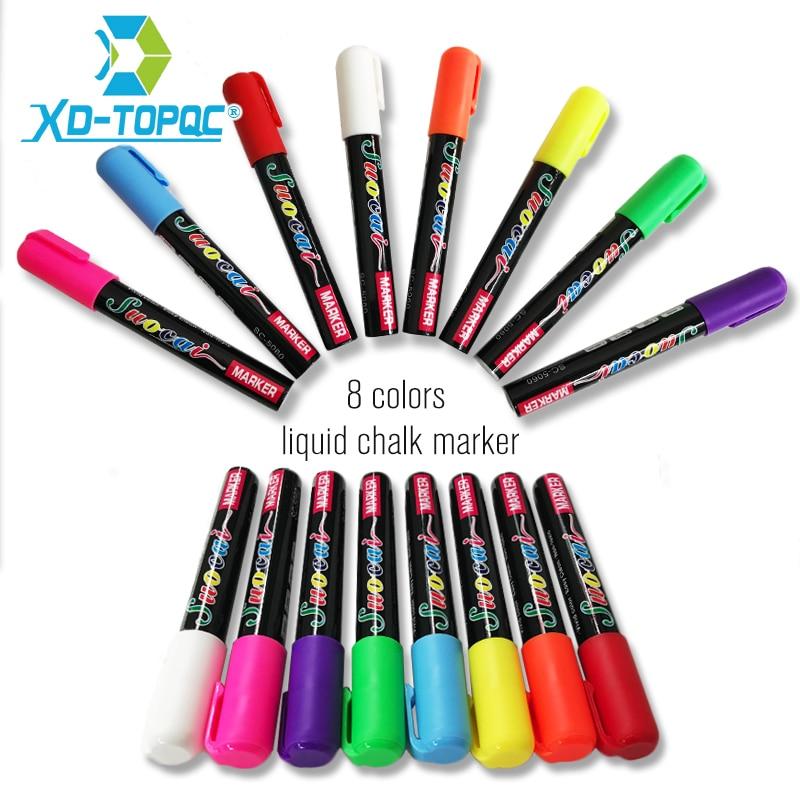 Новинка XINDI, жидкий мел, флуоресцентный маркер, ручка, стираемая, многоцветная, художественная живопись для белой досок, Стеклянная Доска