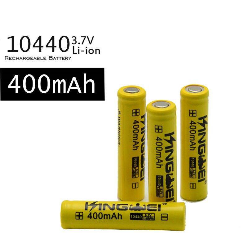 100 unids/lote kingwei 10440 (AAA) batería 3,7 v Li-Ion baterías de litio 400 mah batería recargable Bateria