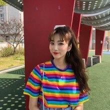 Kawaii mujeres camiseta Ulzzang Verano de manga corta colorido rayas camiseta Japón Harajuku camisetas a rayas cuello redondo Camiseta Preppy