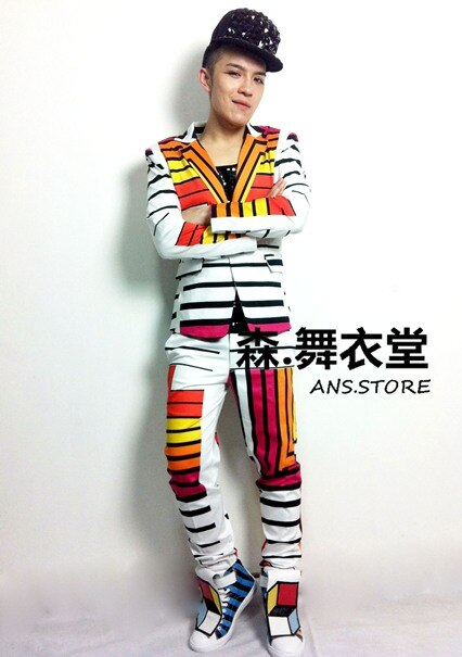 ¡S-5xl! 2020 nuevos trajes de decoración de bloques de Color geométricos para Hombre Trajes de cantante de moda ropa (Traje + Pantalones)