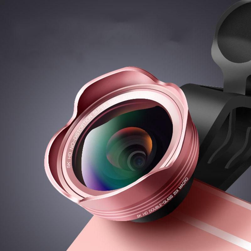 Umeitu 5K HD lente de teléfono sin distorsión 128 gran angular 20X Kit de lentes Macro para iPhone 7X8 Xiaomi Huawei lentes de cámara móvil