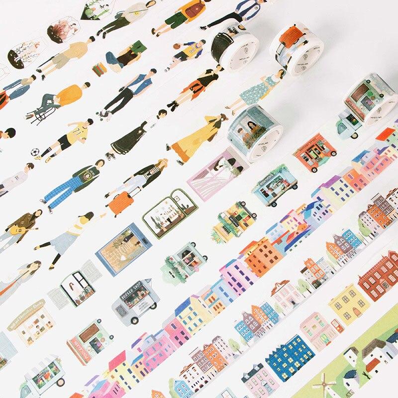 1 PC 24 Style Creative Modern People City Daily Life Washi Tape Scotch DIY Scrapbooking Decorative Masking Tape