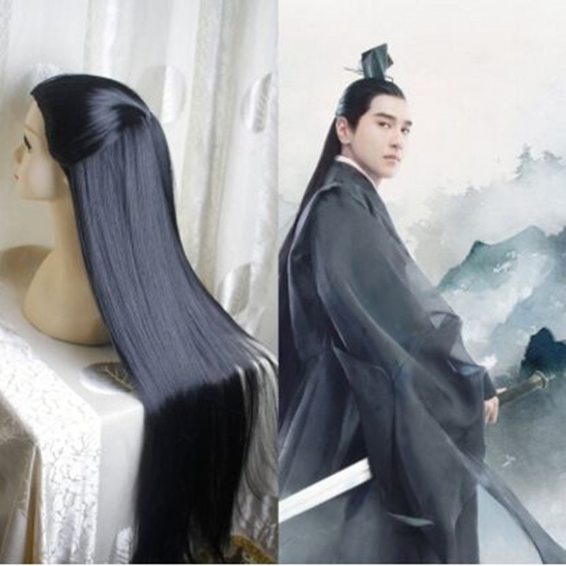القديمة الصينية نمط الشعر الصينية القديمة الرجال طويلة الأسود المحارب تأثيري الشعر الشعر الطويل على التوالي للرجال المبارز تأثيري