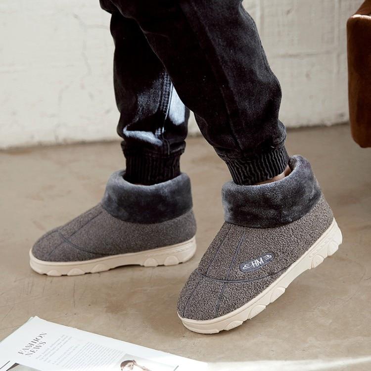 PXELENA, Zapatillas de casa de invierno de piel para hombre, felpa gruesa, cálida, de algodón, para dormitorio, comodidad suave, Zapatillas para hombre, par de zapatos para pareja, talla grande