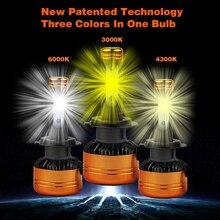Vicmax z5 farol do carro h4 led h7 lâmpada led 3000 k 4300 k 6000 k h1 h3 h11 9005 9006 hb4 h27 9007 led cor dupla amarelo luz branca