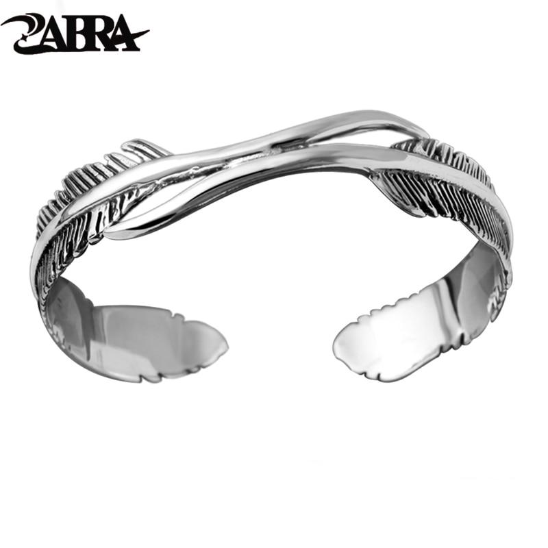 925 Sterling Argent Plume Forme Brassard Ouvert Bracelet Bracelet pour Hommes ou Femmes Puck Classique Rétro Style Hip Hop Party Rock Bijoux