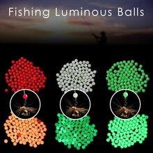 100 unids/bolsa 4/5/6/8mm flotadores de pesca Bolas brillantes Boya Luminosa luz nocturna mar equipo de accesorios de pesca