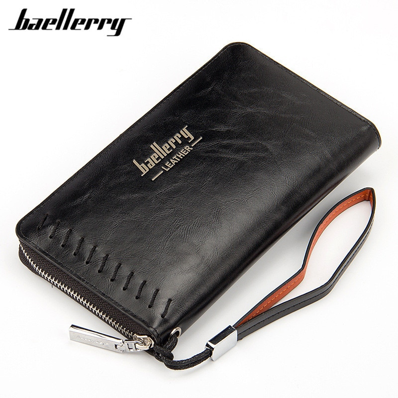 Baellerry bolso hombres cartera largo grande capacidad de carteras de cuero para hombre de negocios embrague cremallera cartera bolsas