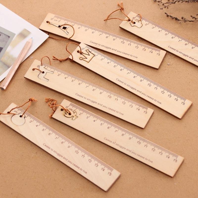 Высокое качество 15 см деревянная линейка для детей метрическое правило