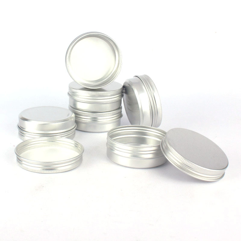 50 Uds. Tarro de aluminio 60ml botella rellenable rosca aluminio vacío 60g medalla aluminio funda 2oz