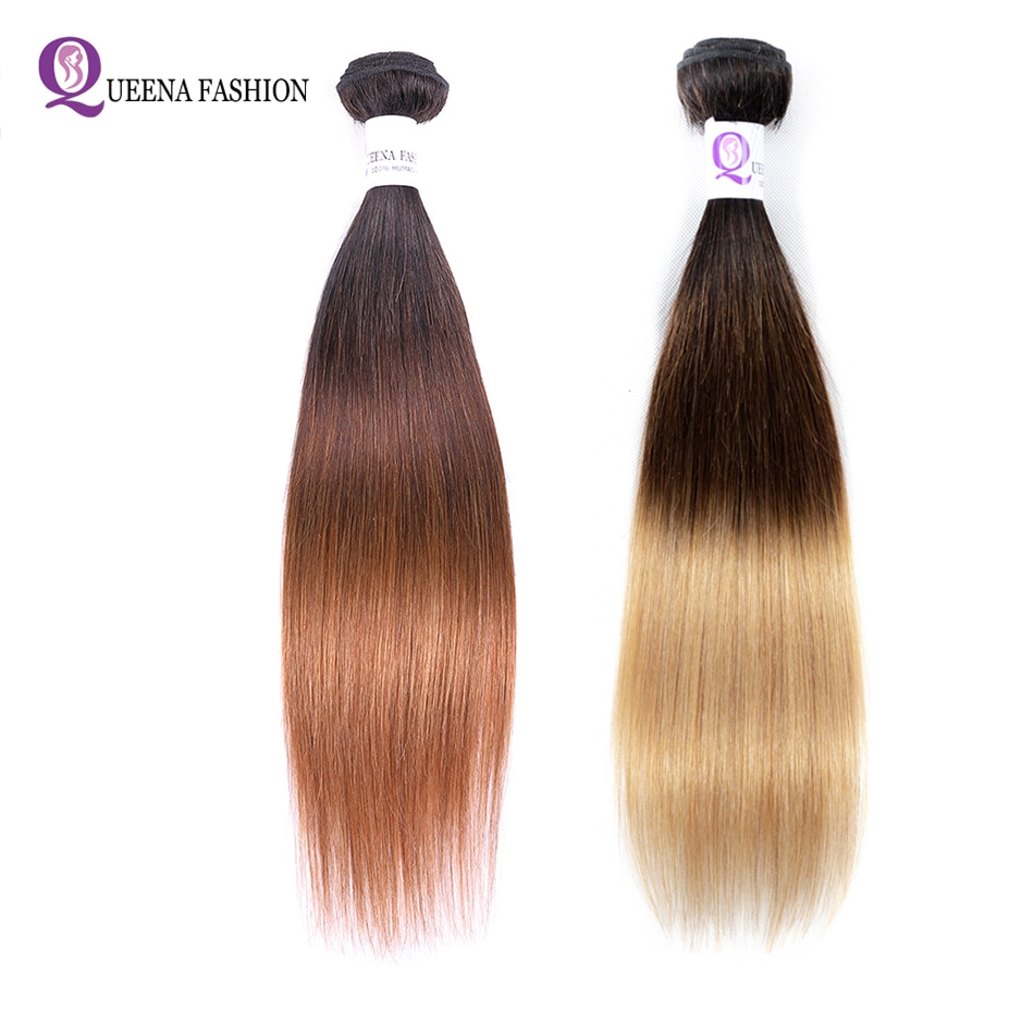Paquetes de pelo humano recto Ombre 1b/4/30 1B/4/27 3 tonos de pelo brasileño extensiones de cabello sin Remy