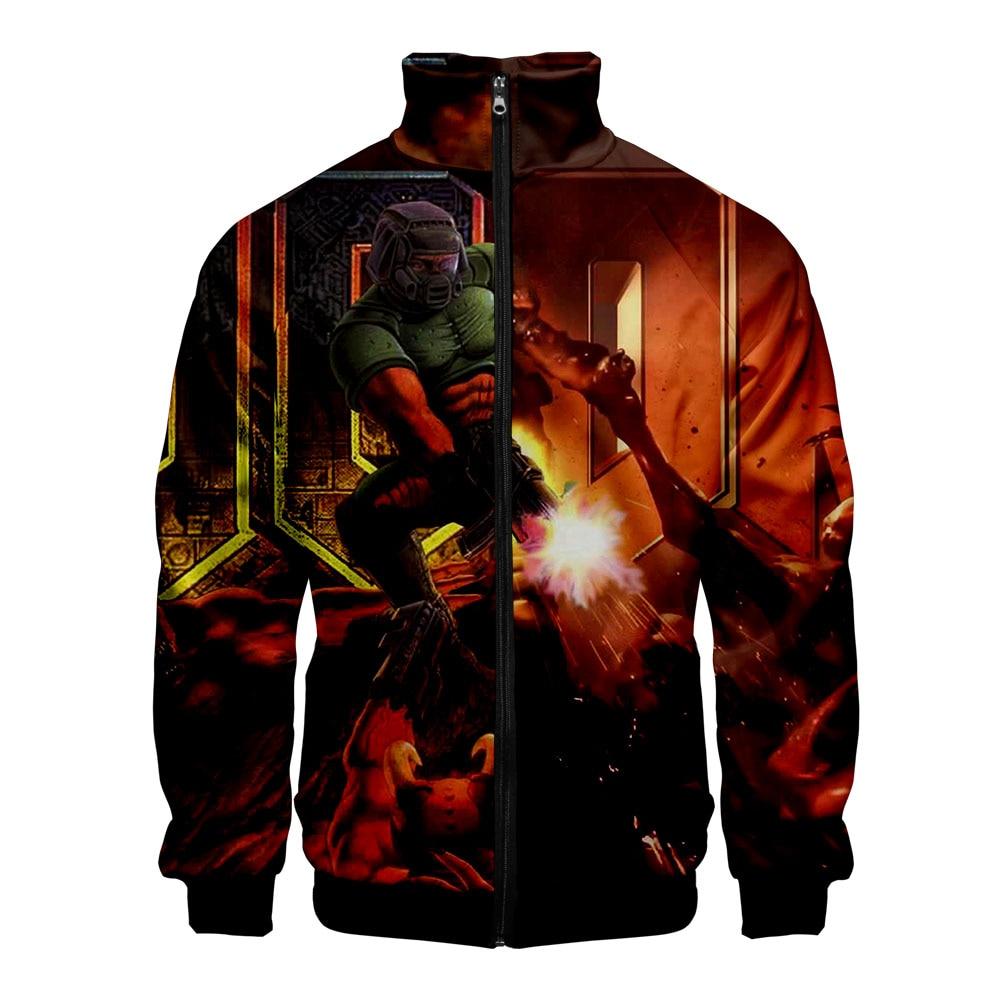 Chaqueta Bomber con estampado 3D de Doom Eternal, chaqueta Retro con cremallera para hombre, primavera 2019, verano, Chaqueta corta básica de talla grande para motorista