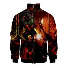Doom Eternal 3D Print Bomber Jacket Men Zipper Up Retro Coat Spring 2019 Summer Long Sleeve Basic Plus Size Short Biker Jackets