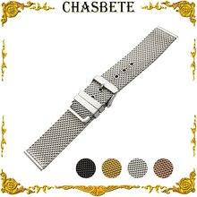 20mm 22mm 24mm Milanese Stainless Steel Watch Band for Cartier Watchband Men Women Metal Strap Wrist Loop Belt Bracelet Black