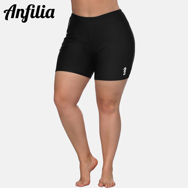 Anfilia Women High Waist Plus Size Swimming Trunks Ladies Plus Size Tankini Bottom Solid Swimwear Briefs Split Swimming Trunks