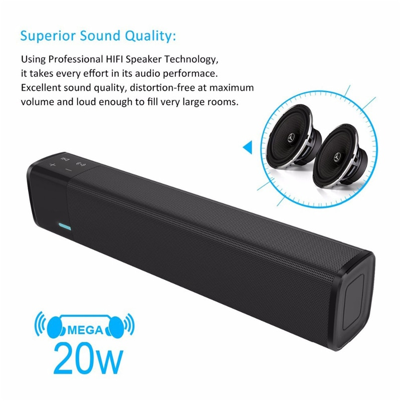 Wireless Bluetooth Speaker 20w HIFI Soundbar Super Bass Stereo Loudspeaker  Support Touch Button NFC TF Card Sound Box enlarge