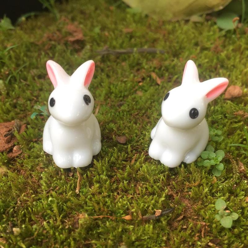 Mini conejo adorno de jardín bonita figura en miniatura para maceta Hada de resina sintética pintada a mano Mini Animal Hada decoración de jardín