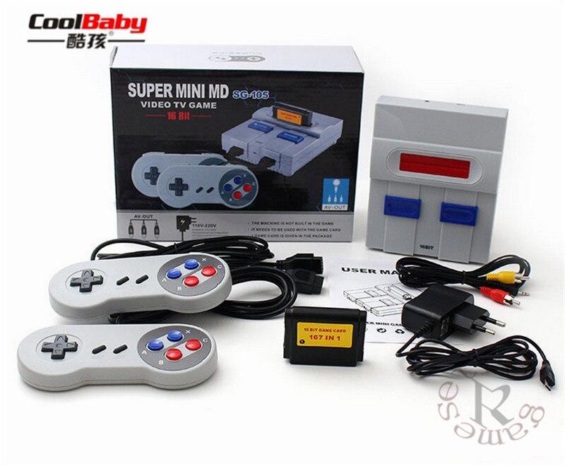 DHL 10 unids/lote mini MD16 SG-105 salida AV de 16 bits juegos familiares Consola de Videojuegos Tv con gratis 167 sega juegos se pueden insertar tarjetas de juegos