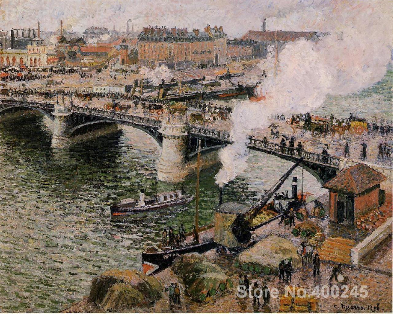 Reproducción de arte en lienzo The Pont Boieldieu, Rouen, pinturas con clima húmedo de Camile Pissarro a la venta pintado a mano de alta calidad