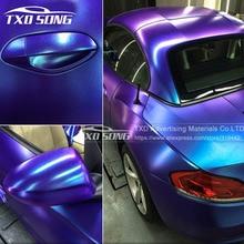 Nouveauté caméléon perle paillettes vinyle autocollant bleu foncé à violet caméléon film de voiture perle paillettes diamant vinyle film